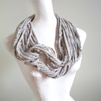 Cyber Monday Etsy Dove Gray Marbled Infinity Scarf Upcycled Clothing Winter White Circle Scarf Winter Accessories Gifts Under 50