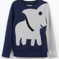 Fashion Elephant Print Pullover Top Sweater