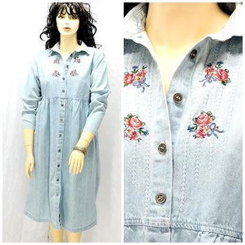 80s denim prairie maxi dress / size  L XL 14 / 16 / long boho jean dress / embroidered denim dress / SunnyBohoVintage