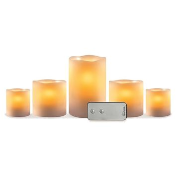 5-piece Small Flameless LED Candle Set (White)