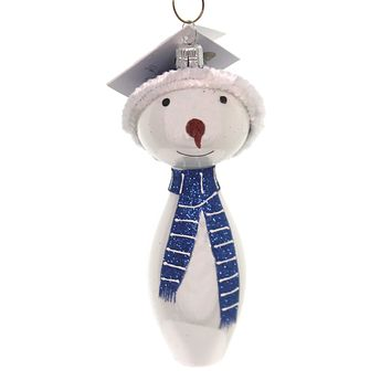 Golden Bell Collection SNOWMAN WITH STRIPED SCARF Christmas Glittered Sn708 Blue