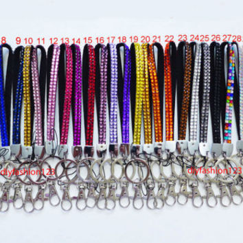 Sale !! 1 pc New Short Wrist Strap Crystal Rhinestone Bling Bling Cell Phone Lanyard & Key Holder