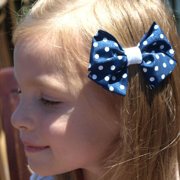 navy and white polka dot bow- back to school- simple hair accessories