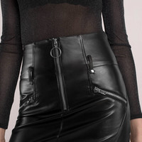 Dusk Til Dawn Pleather O-Ring Skirt