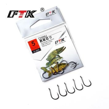 FTK 10pcs Japanese technology Fishing Hooks 3#-12# Stainless Steel Fishing Hook Jig Big Single Hooks Fishing Tackle Texas Tackle