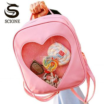Scione 2017 Cute Candy Transparent Love Heart Shape Backpacks Harajuku School Backpack Shoulder Bags for Teenager Girls Book Bag