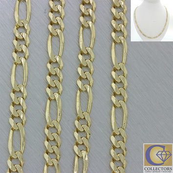 "Men's Women's Italy 14k Solid Yellow Gold 22"" Figaro 5mm Link Chain Necklace 25g"