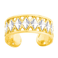 14K White And Yellow Two Tone Gold Diamond Cut And Millgrain Design Cuff Style Adjustable Toe Ring 6mm Width