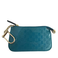 Gucci Clip Key Case 233183 Wallet, Tuquoise Blue Patent Leather:
