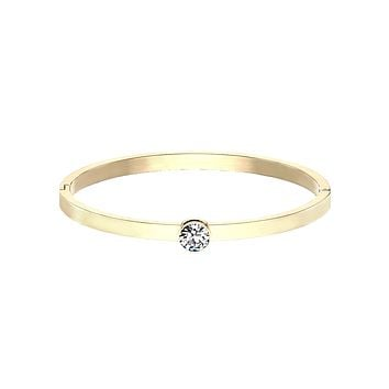 Only You In Gold Bracelet - Bezel Set Round CZ on Stainless Steel IP Hinged Bangle Bracelet