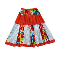 Mogulinterior Womens Gypsy skirt Orange Cotton Patchwork Hippie Boho Crinkle Peasant Skirts