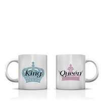 King Queen Full Crown Dusty Blue Rose  Mug by OneBellaCasa.com