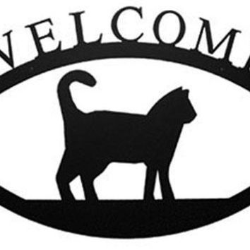 Wrought Iron Cat Welcome Home Sign Large