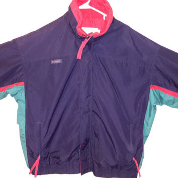 Vintage 80s COLUMBIA Men's Bugaboo Black Red Teal Ski Coat Parka Winter Jacket Sz XLarge