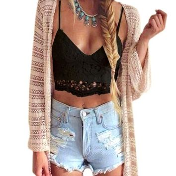 Women Crochet Tank Camisole Lace Vest Blouse Bralette Bra Crop Top Black L