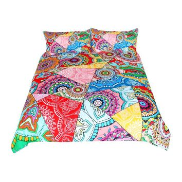 Mandala Bedding Set Red Pink Boho Flowers Patchwork Duvet Cover Set Queen for Adults Girls Colorful Bed Cover