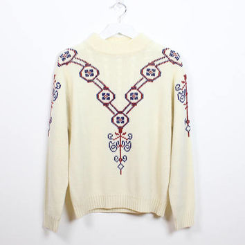 Vintage 1970s Sweater Cream Ivory Off White Burgundy Red Navy Blue Embroidered Design Hippie Sweater 70s Sweater Cable Knit Pullover S M