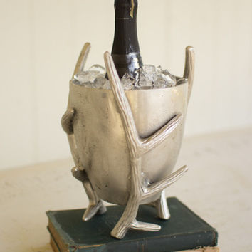Cast Aluminum Wine/Ice Cooler with Antlers- Antique Silver- Small