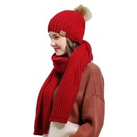 [16457] Woolen Hat And Scarf Set