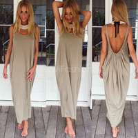 Stylish Lady Women's Fashion Casual Sleeveless Backless Loose-fitting Long Maxi Party Sexy Dress VVF = 1945780676