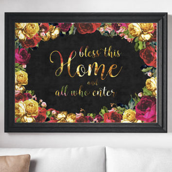 New Home Gift - Floral Decor - Housewarming Gift - New Home Housewarming Gift - Bless this Home Sign - Floral Print - Roses - Canvas Print