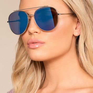 Reflections Of You Blue Mirrored Aviator Sunglasses