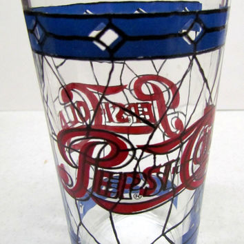 Vintage Pepsi-Cola glass - stained glass