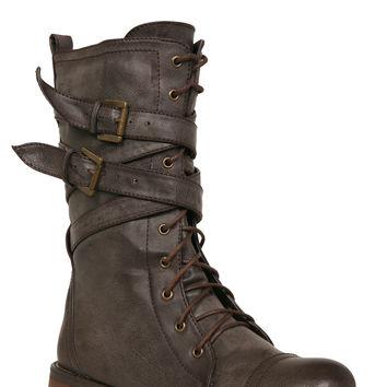 Brown X Lace-Up Boots
