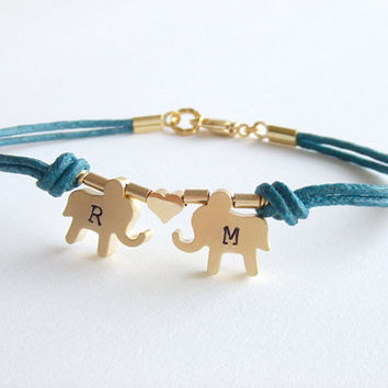 Elephants Jewelry Bracelet, Initialized Personalized Jewelry, Best Friend, Boyfriend, Girlfriend, Gift for Her, Valentines Day Gift