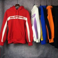 Supreme Fashion Embroidered tea red hooded sweater