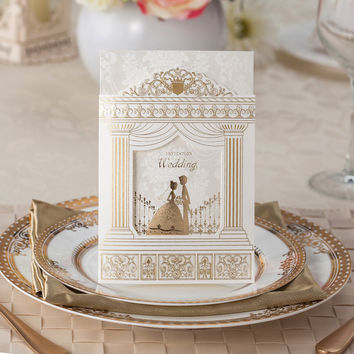 Fashion Wedding invitation Cards,Gold foiling frame church style wedding invitations Suppliers, 50sets/lot, printable