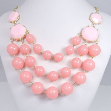 Fashion 3 Layers Light Pink Bubble Necklace, Bib Necklace, Statement Necklace, Beadwork Necklace, Valentines Jewelry-129619615