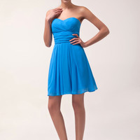 Blue Strapless Ruffled Chiffon Homecoming Dress
