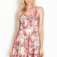 Peonies Fit and Flare Dress