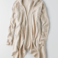 AEO Waterfall Pointelle Cardigan , Oatmeal