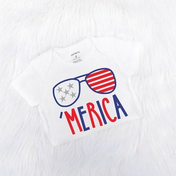 4th of July Outfit, Baby Boy 4th of July Bodysuit, Memorial Day, Patriotic Outfit, Merica Bodysuit, Red White and Blue, Shirt