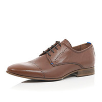 River Island MensBrown leather formal embossed shoes