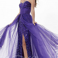 Long Strapless Sequin Dress with Removable Tulle Overlay