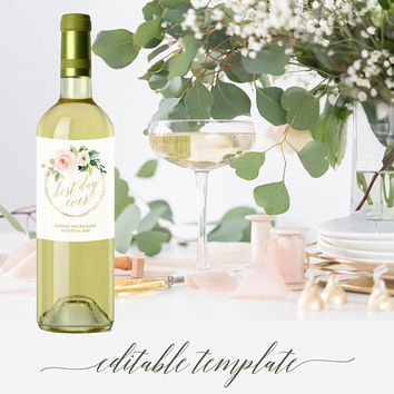 Wine bottle labels template, Printable wine bottle labels, Personalized wine bottle labels for wedding bridal shower, Floral blush pink gold