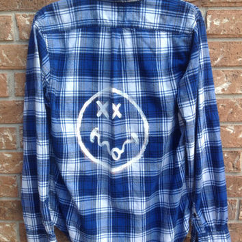 Plaid flannel smiley hand painted shirt // soft grunge