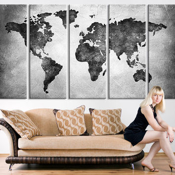 Best white world map wall art products on wanelo world map canvas wall art black white watercolor world map canvas art decor no gumiabroncs Gallery