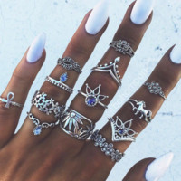 New joint ring set retro ethnic style exaggerated gems Pegasus combination of 13 suit ring