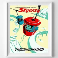Vintage Disneyland, Poster, Print, Skyway, Disney, Tomorrowland, Fantasyland, Reproduction, Restored, Restoration, Vintage [No 1280]