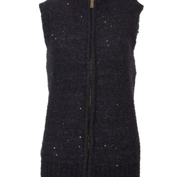 Charter Club Women's Sequined Zipper Front Cardigan Sweater Vest