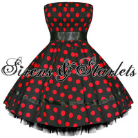 RED POLKA DOT VTG 50S SWING PINUP PARTY PROM DRESS