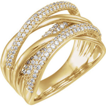 14K Yellow 1/2 CTW Diamond Criss Cross Ring