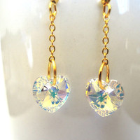 Ice of Gold Heart Earrings, Swarovski Heart Crystal Drop Earrings