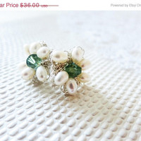 Summer Sale Pearl Bridal Stud Earrings Silver Wedding Daisy Crochet Sea Water Mint Crystal