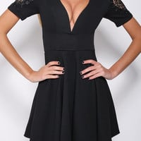 Black Deep V-Neck Short Sleeve with Lace Accent Skater Dress