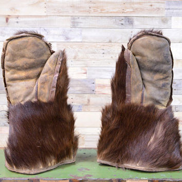 Vintage Bear Hide Gloves, Antique Fur Mittens, Authentic Fur And Leather Gauntlets